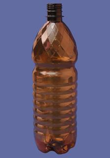 Пластиковая бутылка 1 л. (коричневый, ребристая)