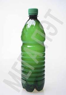 Пластиковая бутылка 1 л. (зеленый, ребристая)